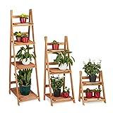 Relaxdays Blumentreppe aus Holz, Blumenständer für innen, Mehrstöckig, Leiterregal, Verschiedene Größen, braun