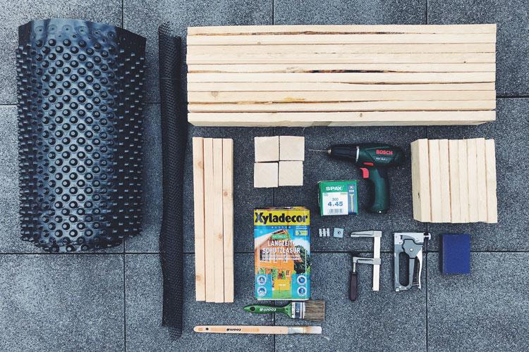 Material und Werkzeug Blumenkasten bauen