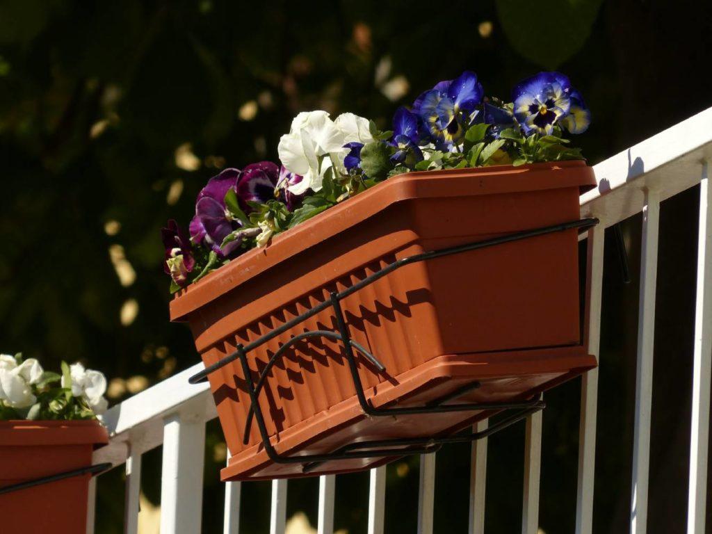 Blumenkasten auf Balkon in Halterung montiert